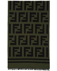 Fendi Black Green Logo Scarf