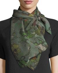 Rag & Bone Floral Print Silk Camo Scarf