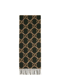 Gucci Green And Brown Wool Gg Scarf
