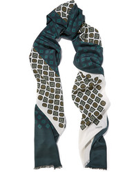 Lanvin Printed Silk Scarf Dark Green