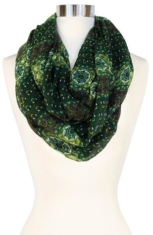 df4a66f168769 ... Green Print Scarves Sylvia Alexander Sylvia Alexander Woven Print Infinity  Scarf ...
