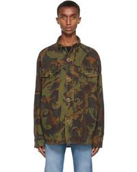 Versace Green Denim Baroccoflage Jacket