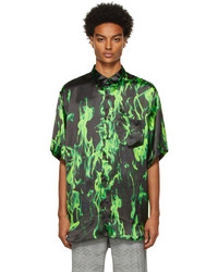 Vetements Black Green Smoke Fluid Shirt