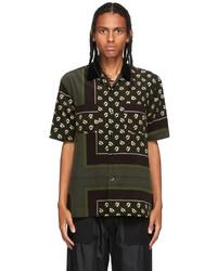 Sacai Brown Khaki Floral Print Shirt
