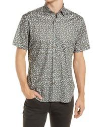 Jeff Something Fishy Short Sleeve Stretch Button Up Shirt