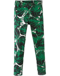 Choies Green Leaf Print Skinny Pants