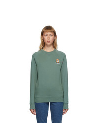 MAISON KITSUNE Green Lotus Fox Sweatshirt