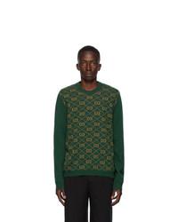 Gucci Green Wool Jacquard Gg Sweatshirt
