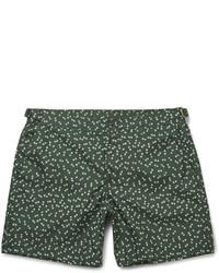 Dark Green Print Swim Shorts