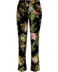Dark Green Print Tapered Pants