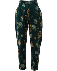 Kenzo Vintage Cropped Rose Print Trousers