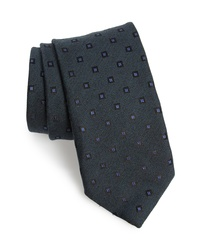 Canali Medallion Silk Wool Tie