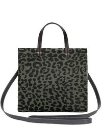 Clare Vivier Clare V Small Petit Simple Leopard Print Genuine Calf Hair Tote Green