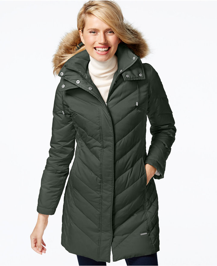 a9f67234ce4f ... Puffer Coats Kenneth Cole Faux Fur Trim Chevron Quilted Down Coat ...
