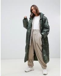 Weekday Oversized Long Padded Jacket In Green Yellowish