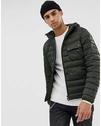 Barbour International Ousten Hooded Quilted Jacket In Olive