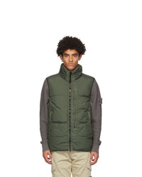Stone Island Green Down Crinkle Reps Vest