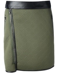 Dark Green Quilted Mini Skirt
