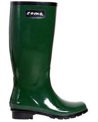 Roma Boots Glossy Hunter Green Rain Boots
