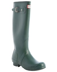 Hunter Green Rubber Tall Rainboots