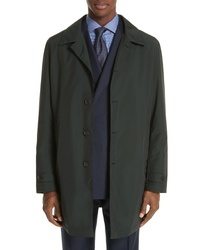 Canali Waterproof Wool Blend Raincoat