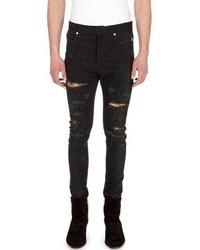 Balmain Distressed Python Print Skinny Jeans