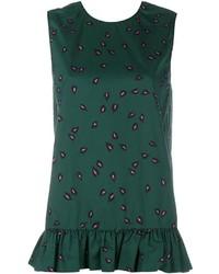 Marni Sleeveless Print Ruffle Top