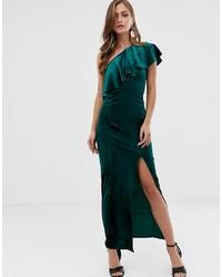 7250e724412 ASOS DESIGN Velvet One Shoulder Ruffle Maxi Dress