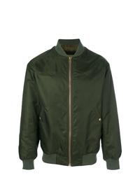 Dark Green Satin Bomber Jacket