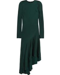 Haider Ackermann Kuiper Asymmetric Satin Midi Dress Emerald