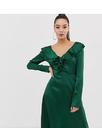 Missguided Satin Frill Detail V Neck Midi Dress In Green