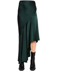 Haider Ackermann Ruffled Asymmetric Techno Satin Skirt