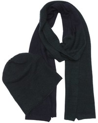 Portolano Charcoal And Black Knit Hat And Scarf Set