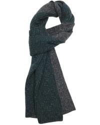 Fendi Green Wool Zucca Pattern Reversible Scarf