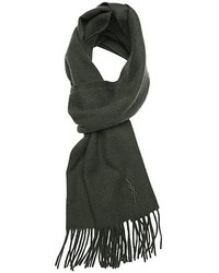Saint Laurent Yves Forest Green Wool Knit Fringed Scarf