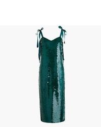 J.Crew Collection Tie Shoulder Sequin Dress