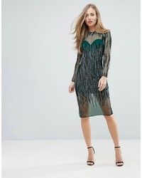 Asos Sequin Stripe Bodycon Midi Dress