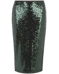 Dark Green Sequin Pencil Skirt