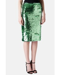 Topshop Sequin Pencil Skirt