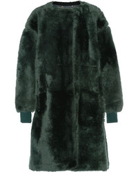 Chloé Shearling Coat Forest Green
