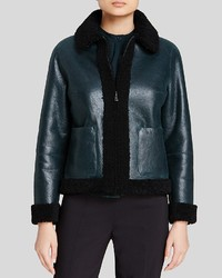 Tory Burch Color Block Trim Shearling Jacket
