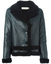 Tory Burch Shearling Buttoned Jacket