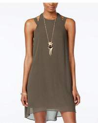 City Studios Juniors High Low Halter Shift Dress With Necklace