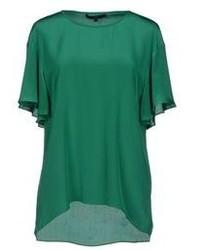 Dark Green Short Sleeve Blouse