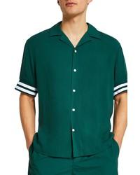 River Island Revere Tipped Resort Short Sleeve Button Up Shirt