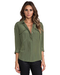 4a562401c2c008 Dark Green Silk Button Down Blouses for Women | Women's Fashion ...