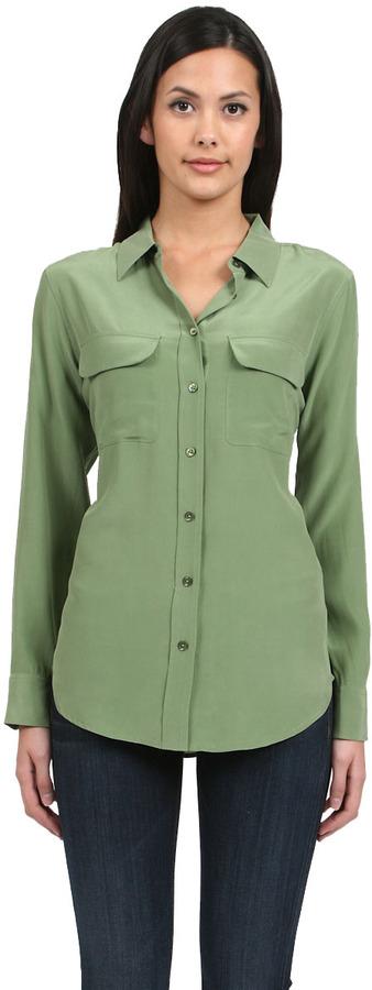 a5a1a6bb009c61 Equipment Slim Signature Shirt In Safari Green, $204   CoutureCandy ...