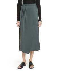 Vince Knot Silk Midi Skirt