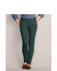 Eddie bauer slightly curvy stayshape skinny color jeans dark green 4 regular medium 81024