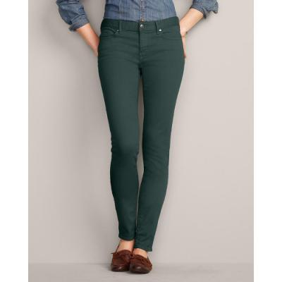 Eddie Bauer Slightly Curvy Stayshape Skinny Color Jeans Dark Green ...